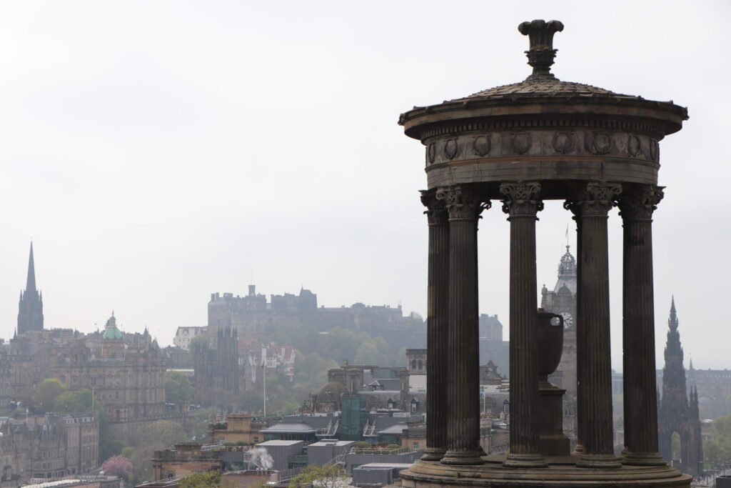 Dugald Stewart Monument on Calton Hill at Edinburgh Scotland