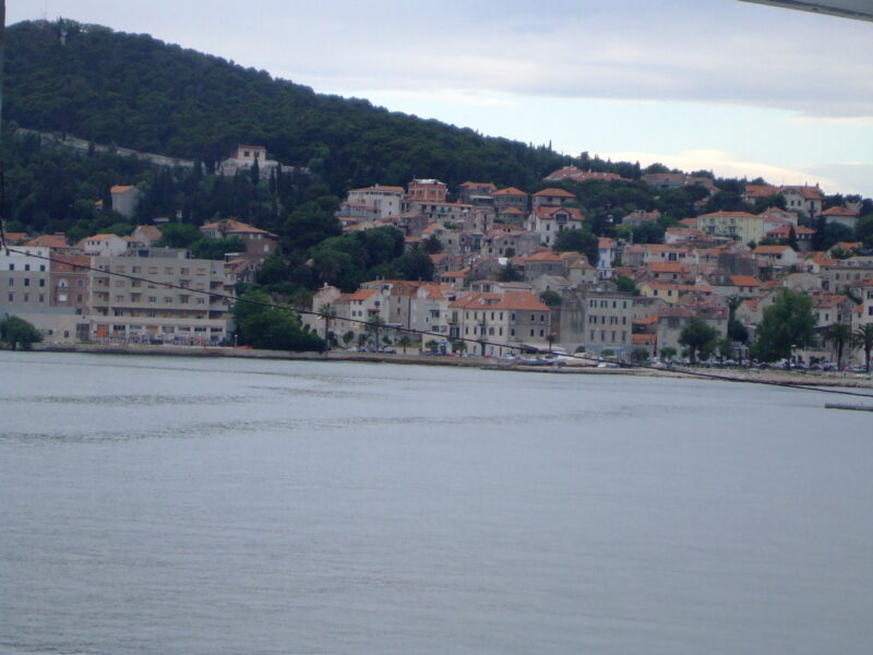 View of the hill from the harbour in Split Croatia
