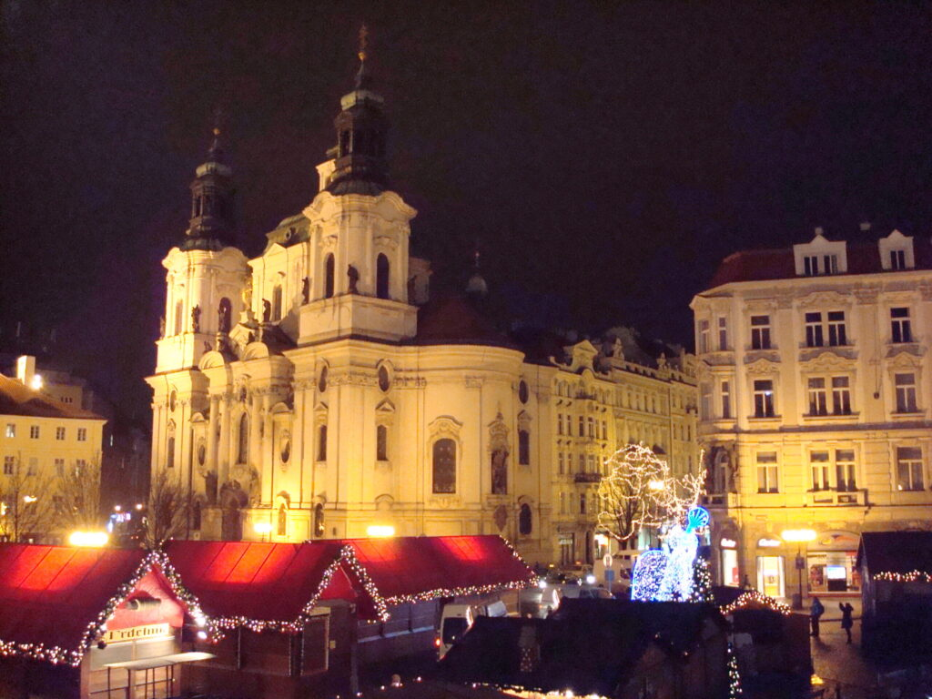Prague Czech Republic Christmas Market in Old Town Square in the Evening
