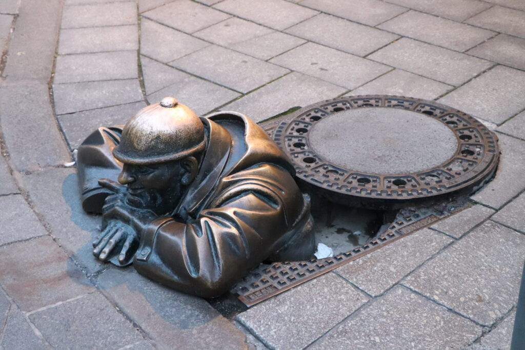 Cumil Man at Work in Bratislava Slovakia