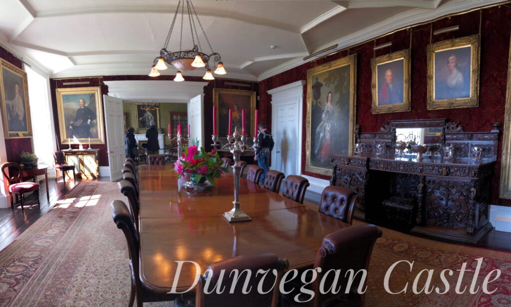 Dunvegan Castle, located on the Isle of Skye off the west coast of Scotland