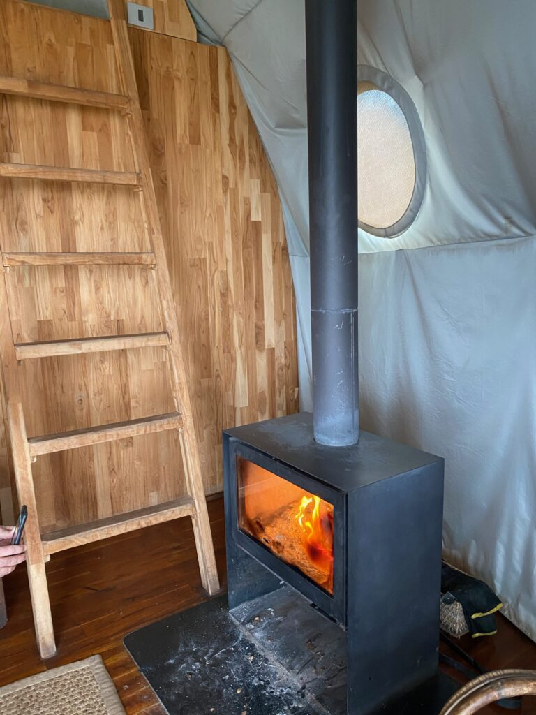 Fireplace in Tent at the Highlands Place at Ngorongoro Crater, Tanzania