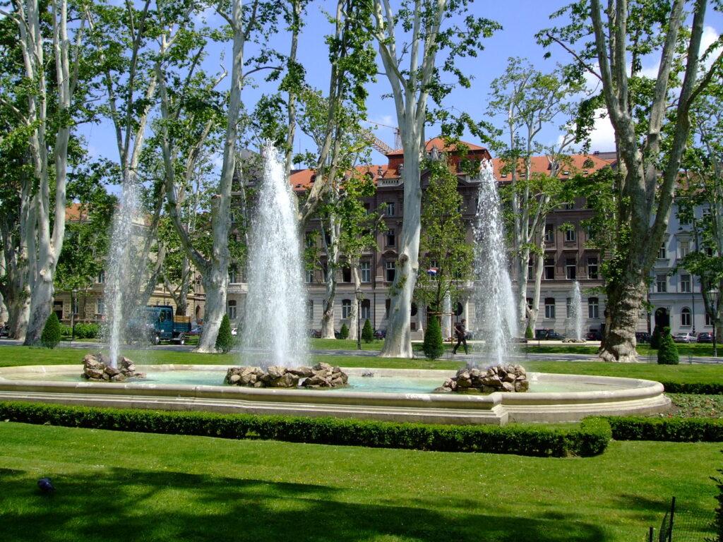 Fountains in Zrinjevac Zagreb Croatia