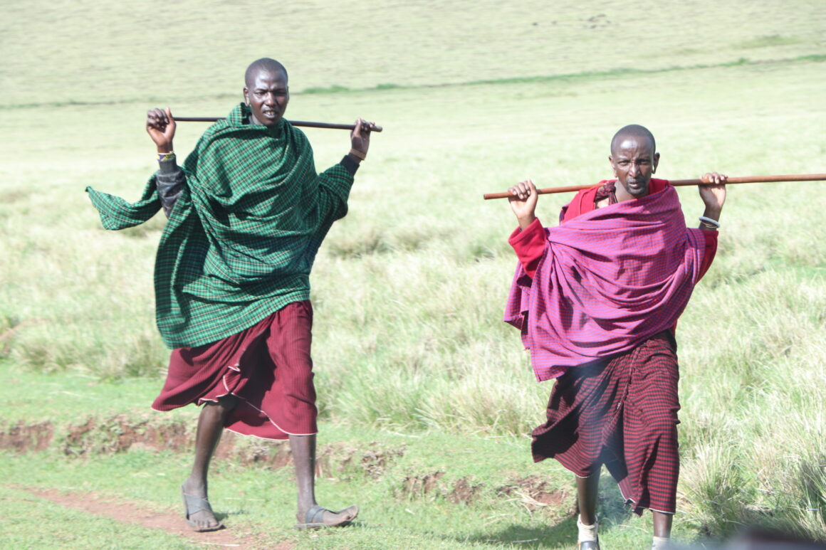 Maasai People Walking near the Ngorongoro Crater Tanzania