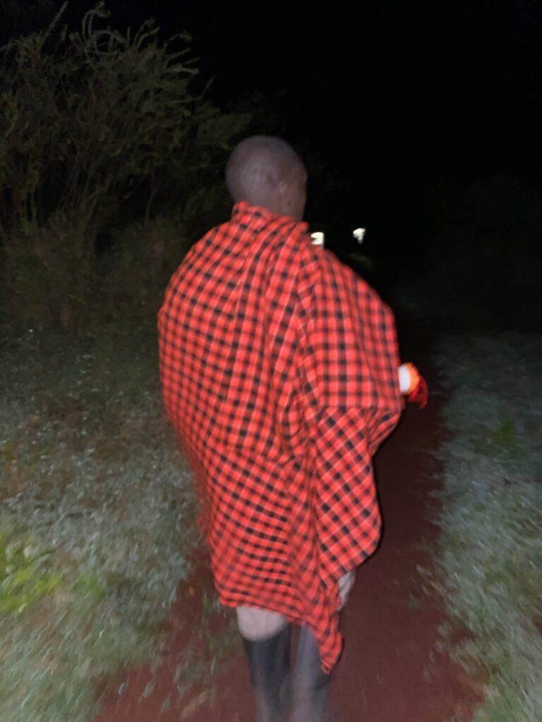 Maasai Tribesman Walking Us Back To Our Tent at Highlands Camp in the Ngorongoro Crater, Tanzania