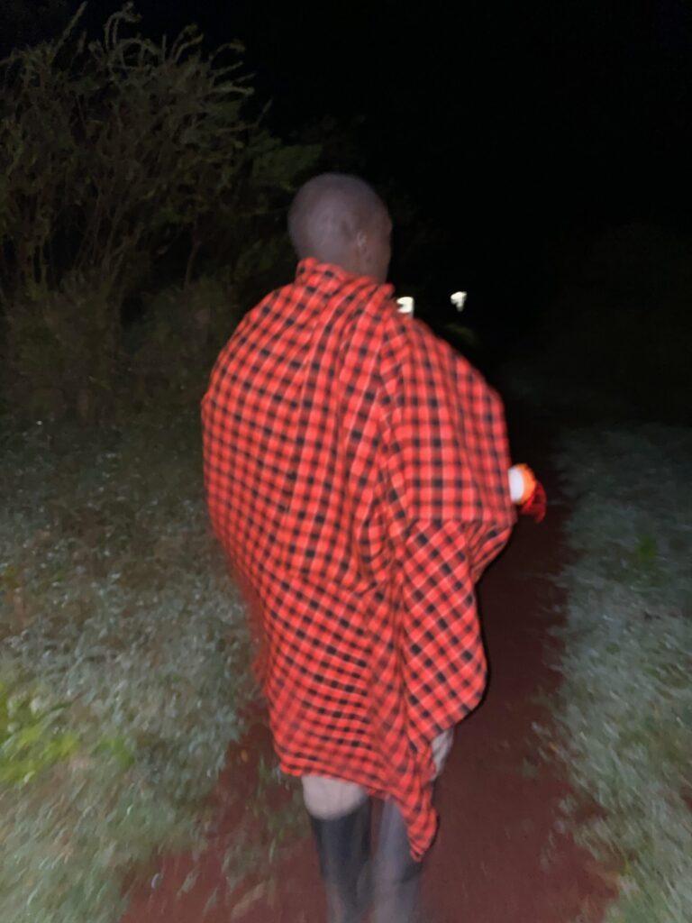 Maasai Tribesman Walking Us Back To Our Tent at Highlands Camp in the Ngorongoro Crater, Tanzania