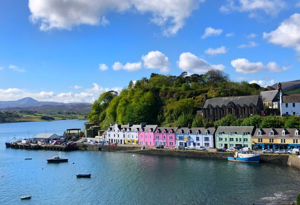 Portree on the Isle of Skye in the Highlands of Scotland