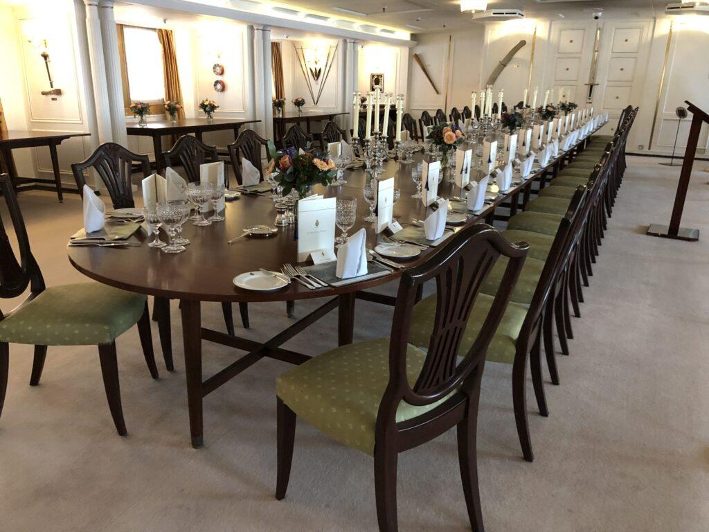 State Dining Room on the Royal Yacht Britannia, in Edinburgh Scotland
