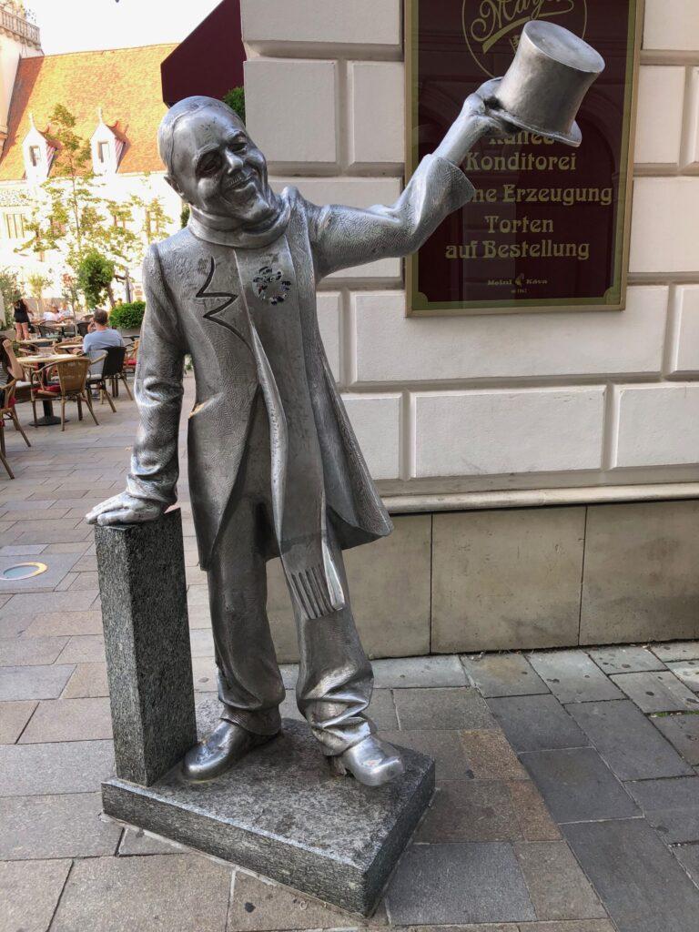 Statue of Schone Naci in Bratislava Slovakia