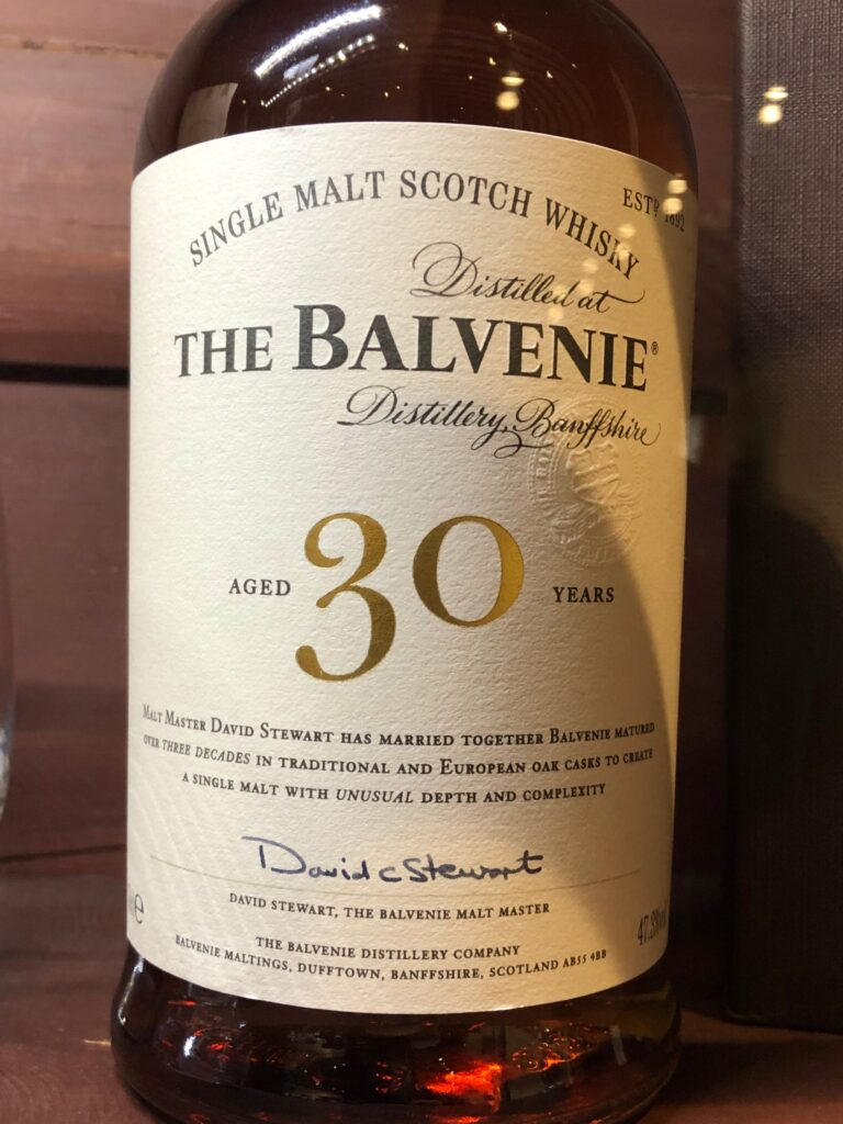 The Balvenie 30 Year Old from the Speyside Region of Scotland