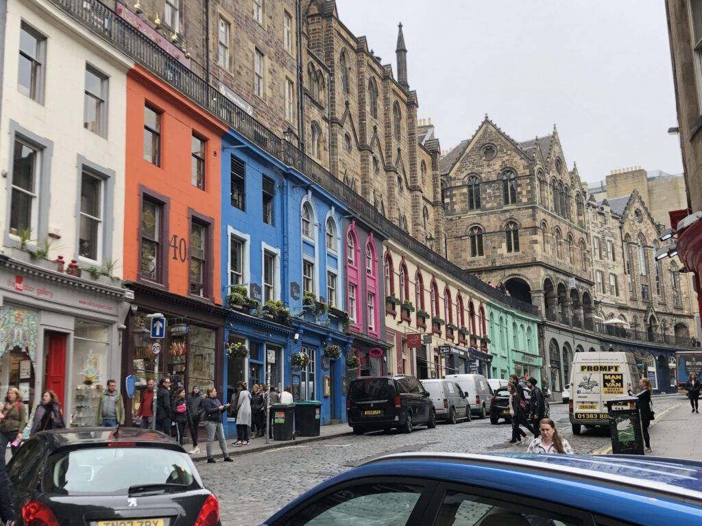 Victoria Street in the Old Town of Edinburgh Scotland