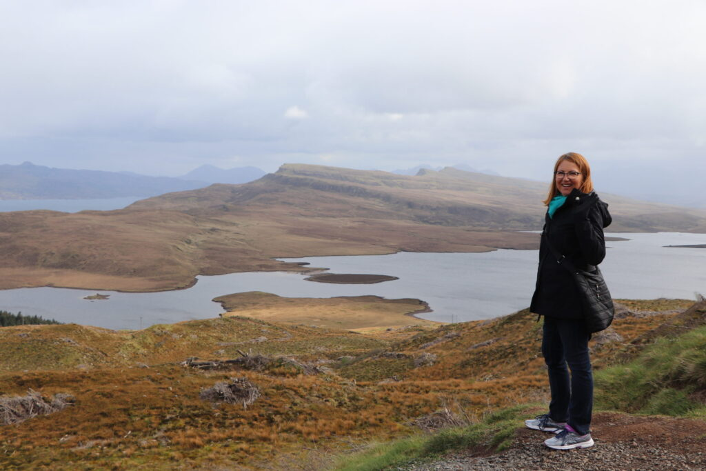 View from Old Man of Storr on the north of Skye on the Trotternish peninsula of Scotland