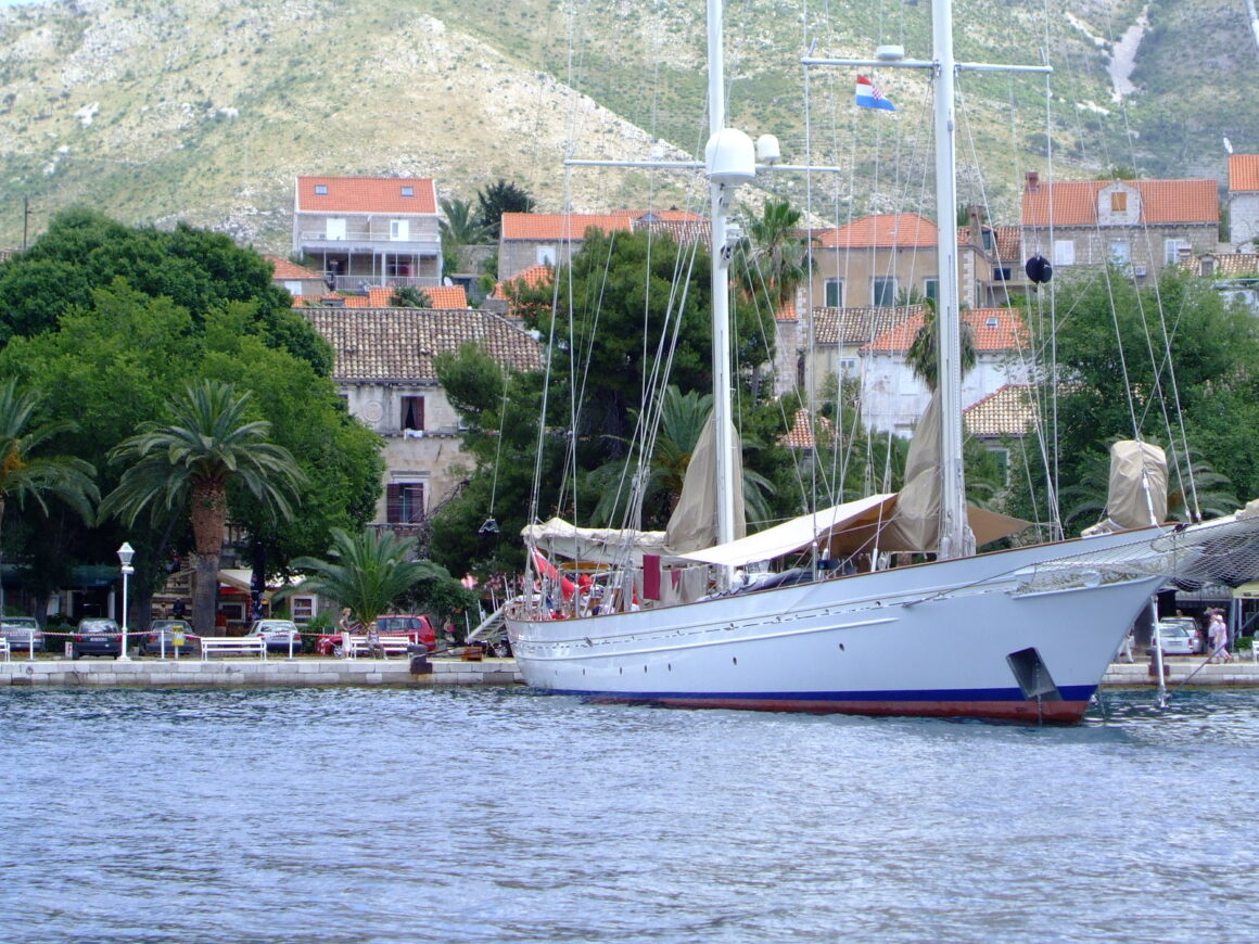 Large Sail Boat Moored in Cavtat Harbour