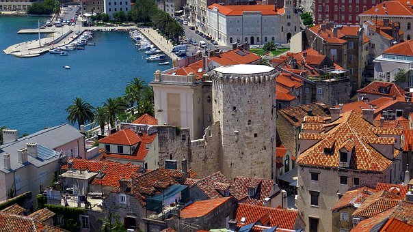 Split city and harbour view