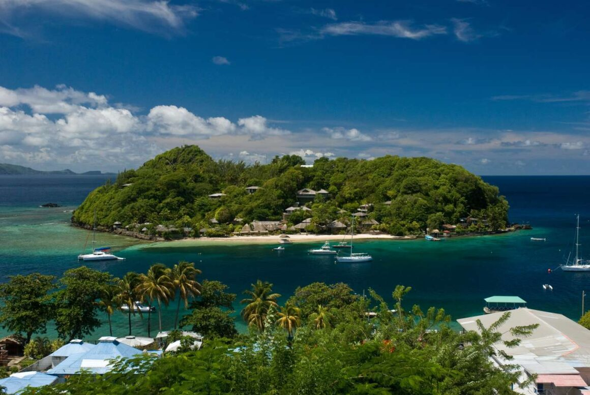 View of Young Island Resort from St Vincent