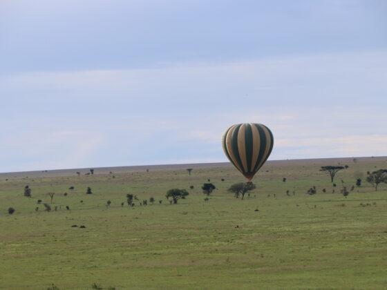 Balloon gently landing on the Serengeti