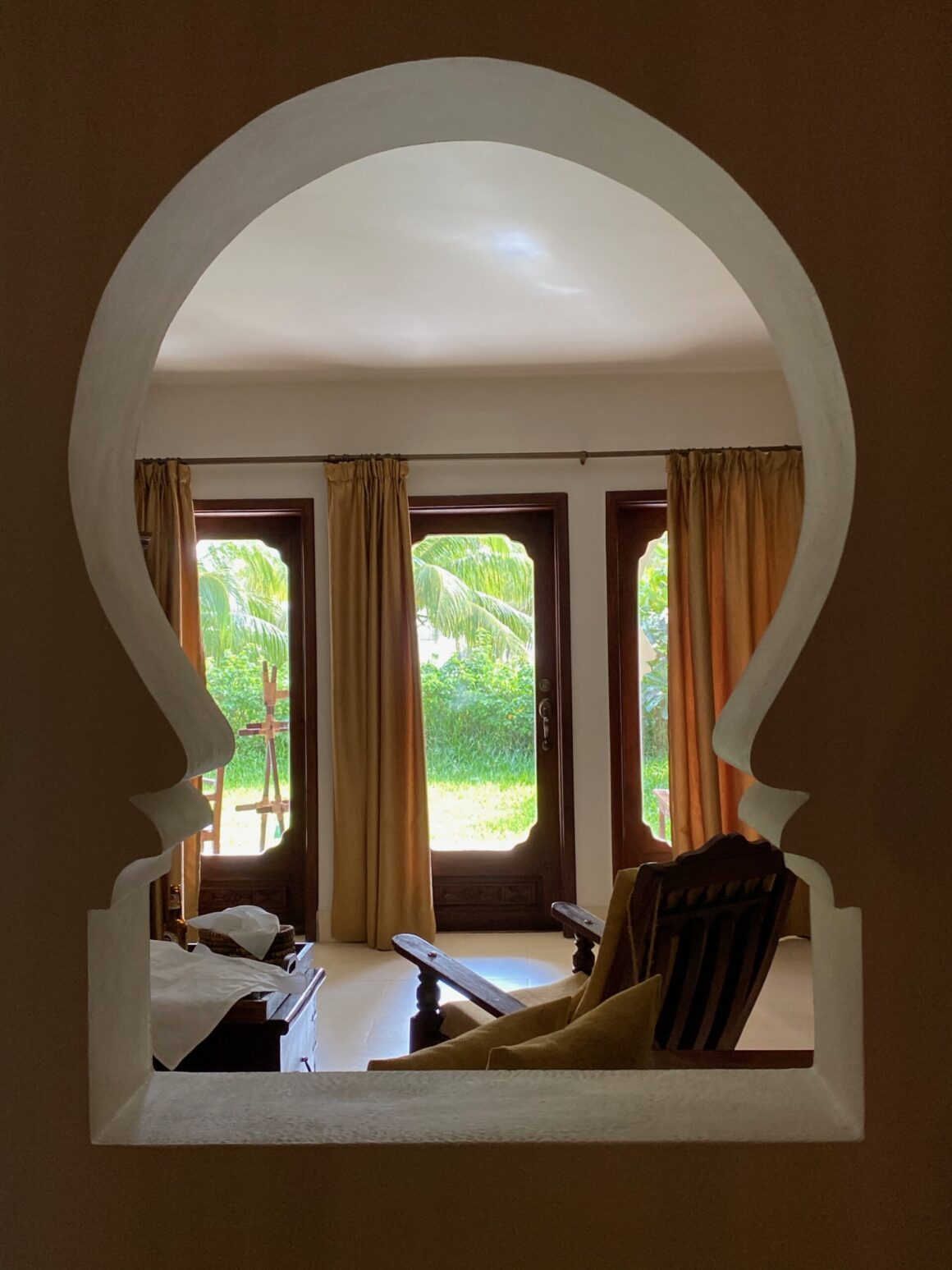 Baraza Resort archway into our sitting area