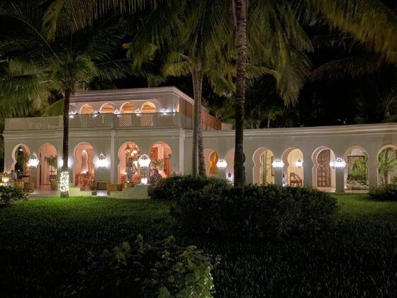 The Baraza Resort reception area at night
