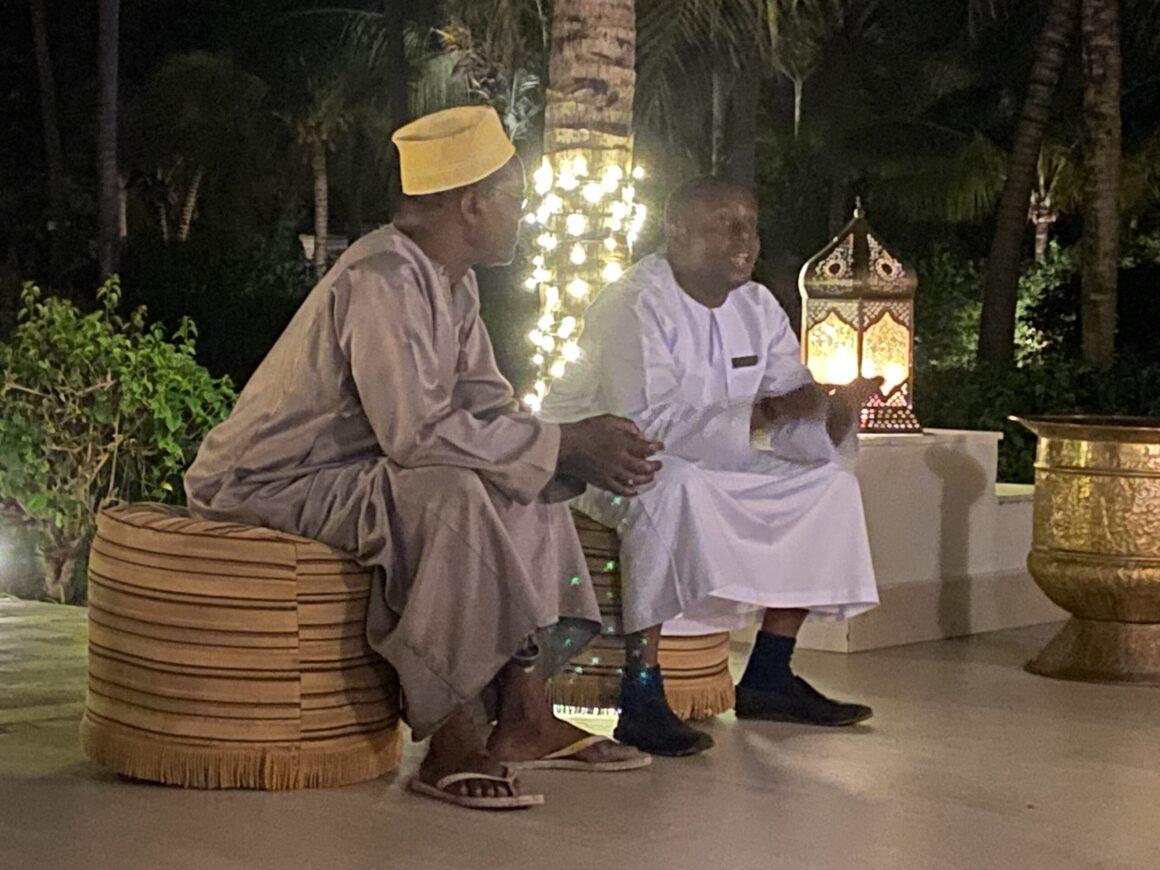 Baraza Resort storytelling by elder at night