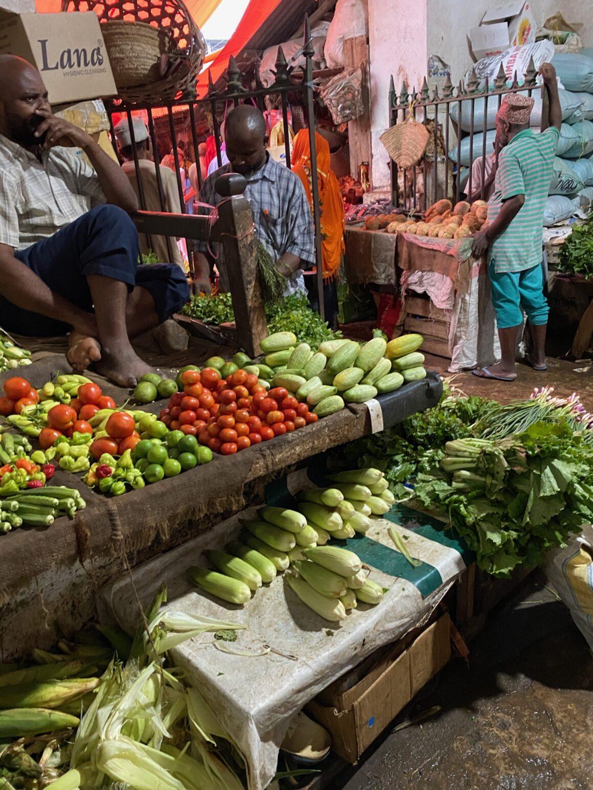Darajani Market fresh vegetable stall