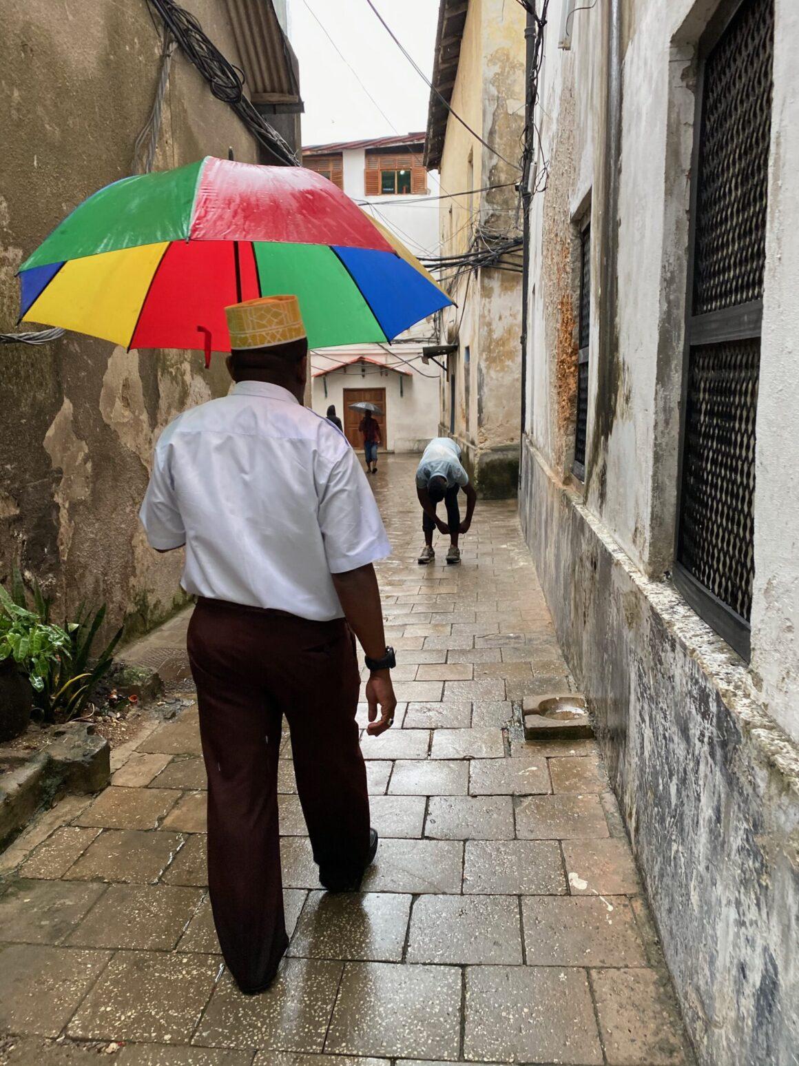 Labyrinth of many narrow and winding streets of Zanzibar
