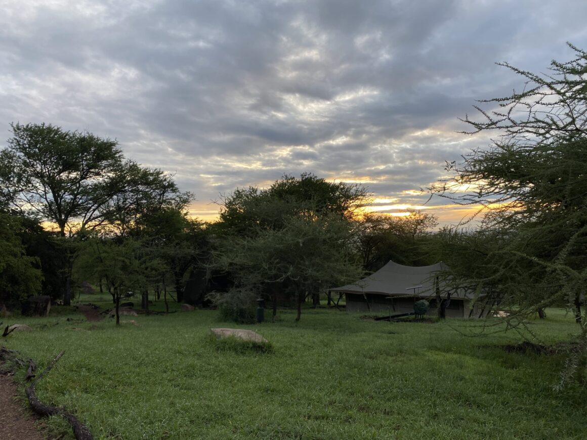 sun setting at elewana pioneer camp in the serengeti