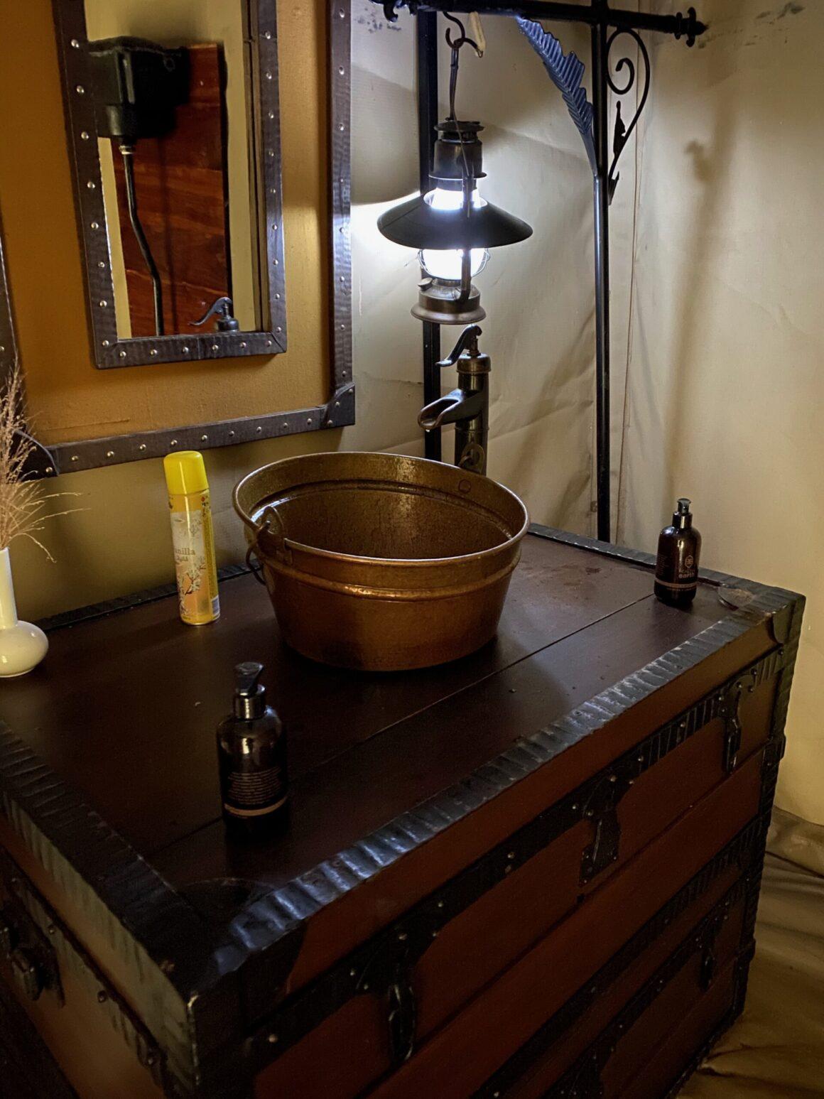 vanity in washroom elewana pioneer camp