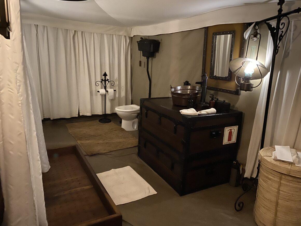 washroom at elewana pioneer camp